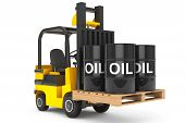 pic of truck-cabin  - Forklift Truck with Oil Barrels over Pallet on a white background - JPG
