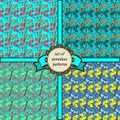 image of dragonflies  - set of seamless patterns with dragonfly in blue colors - JPG