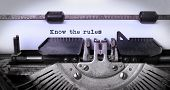 picture of old vintage typewriter  - Vintage inscription made by old typewriter know the rules - JPG
