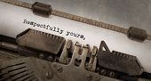 image of respect  - Vintage typewriter old rusty and used Respectfully yours - JPG