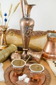 picture of sugar cube  - Copper dishware with Turkish coffee and sugar cubes - JPG