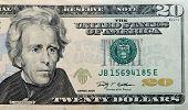 stock photo of twenty dollars  - twenty paper dollars bill macro   - JPG