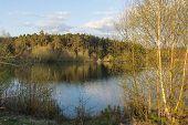 stock photo of bavaria  - the lake Klausensee next to Schwandorf in Bavaria in spring - JPG