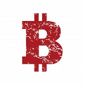 image of bitcoin  - Red grunge Bitcoin logo on a white background - JPG