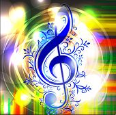 picture of g clef  - Colorful music background with treble clef - JPG