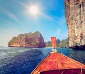 picture of koh phi-phi  - Traditional wooden boat in a tropical bay on Koh Phi Phi Island - JPG