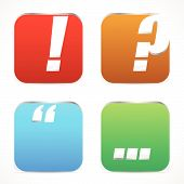 Постер, плакат: Punctuation Mark Icons Exclamation Point Question Mark Quote Mark And Ellipses Metallic 3D Effec