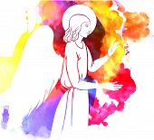stock photo of golgotha  - angel  blesses on watercolor style colofull backround - JPG
