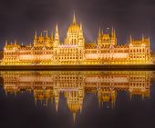 foto of hungarian  - View of hungarian Parliament building at night in Budapest - JPG