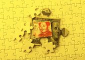 image of yuan  - Dollar and Yuan on Puzzle - JPG