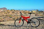 image of suspension  - Modern Red Full Suspension Mountain Bike MTB Bicycle - JPG