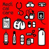 image of first aid  - Collection of medical tools meets the first aid need that doctor and nurse alway use to cure patient at the infirmary - JPG