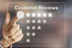 picture of analysis  - business hand clicking customer reviews on virtual screen interface - JPG