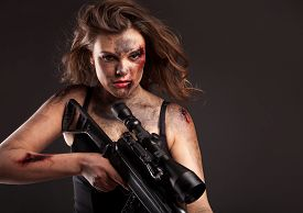 foto of sniper  - Riot girl with sniper gun close up portrait - JPG