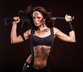 foto of sniper  - Sniper woman in leather sexy wear - JPG