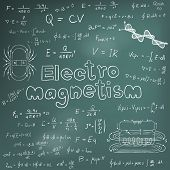 Постер, плакат: Electromanetism Electric Magnetic Law Theory And Physics Mathematical Formula Equation Doodle Handw