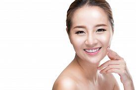 image of touching  - Beautiful Asian beauty woman touching perfect face skin laughing happy - JPG