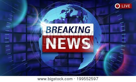Breaking News Broadcast Vector Futuristic Background With World Map And Live