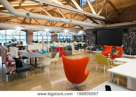 Beautiful Poster Of View Of Trendy Modern Open Concept Loft Office Space With Big  Windows, Natural Light And A Layout To Encourage Collaboration, Creativity  And ...