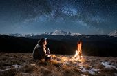 Male Tourist Have A Rest In The Mountains At Night. Man With A Headlamp Sitting Near Campfire Under poster