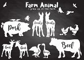 Vector Farm Animals Silhouettes Isolated ,farm Animals With Text. poster