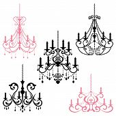 stock photo of chandelier  - This graphic is chandelier set - JPG