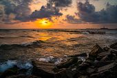 Sunset. Beautiful Sunset Black Sea. Gold Sea Sunset. Sunset Sea Waves. Summer Sunset poster
