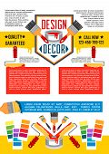 House painting and decorating service banner template. Home repair tool poster of paint can, brush, roller, paint swatches and colorful blocks with text layout for interior design studio poster design