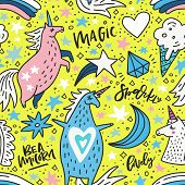Cute hand drawn seamless pattern with unicorns and rainbows. Vector background