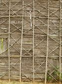stock photo of iroquois  - A wall made from tree bark and branches at an Iroquois settlement - JPG