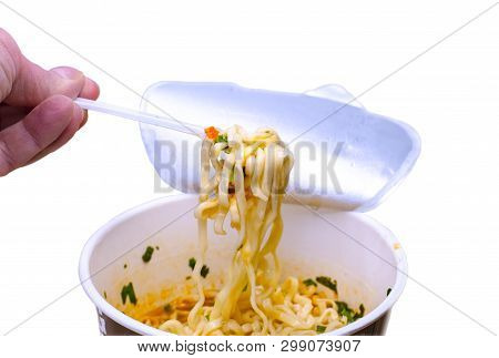 poster of Instant Noodle. Noodle Soup In A Cup, View From Above. Instant Noodles Are Sold In A Precooked And D