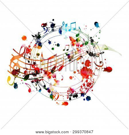 poster of Music Background With Colorful Music Notes Vector Illustration Design. Artistic Music Festival Poste