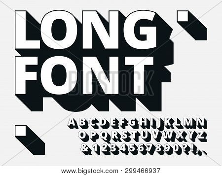 poster of Long Shadow Font. Retro Boldness 3d Alphabet, Old Bold Type And Vintage Cool Typography Hipster Type