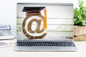 E-learning Or Online Education, At Sign Mail Logo Ideas For Graduated Study Abroad International Uni poster