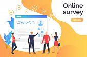 People Answering Online Survey. Computer, Poll, Online Test. Online Survey Concept. Vector Illustrat poster