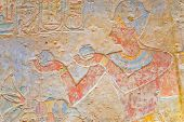image of aswan dam  - Preserved color hieroglyphics in the temple of Kalabsha near Aswan High Dam (Egypt)