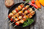 Chicken Kebab With Bell Pepper In Frying Pan, Close Up poster