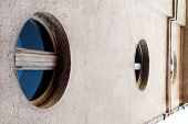 Circular Windows. The Circular Windows With Blue Glass. Modern Contemporary Architecture Exterior Of poster