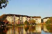 stock photo of suburban city  - An contemporary apartment building on the lake - JPG