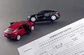 Car Crash Scene Two Broken Cars And Car Insurance Document. Progressive Car Insurance Concept. Gray  poster