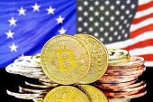 Bitcoins On The Background Of The Flag European Union And United States Of America. Concept For Inve poster