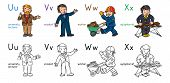 Abc Professions Coloring Book Set English Alphabet poster