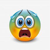 Scared Emoticon, Emoji - Vector Illustration - Vector poster