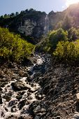 Small Mountain River With Cascase poster