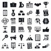 Corporate Governance Office Icons Set. Simple Set Of Corporate Governance Office Vector Icons For We poster