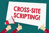 Handwriting Text Cross Site Scripting. Concept Meaning Security Vulnerability Mainly Found In Web Ap poster