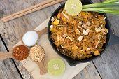 Thai Food Pad Thai , Stir Fry Noodles In Pad Thai Style poster