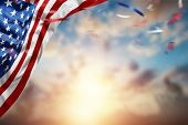 Creative Background, American Flag On Beautiful Sunset Background, Independence Day. 4Th Of July Day poster