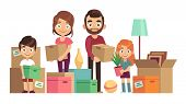 Family Moving New Home. Happy People Packing Unpacking Boxes Cardboard Package Deliver Parents Kids  poster
