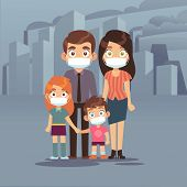Family City Smog. People Protective Face Masks Pollution Air Smog Toxic Industrial Harmful Waste Dus poster